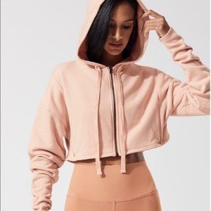 Alo Yoga Extreme Crop Pink Hooded Jacket Size L